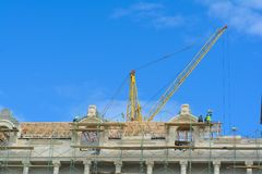 Construction works on the building, facing Royalty Free Stock Photo