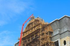 Construction works on the building, facing Royalty Free Stock Images