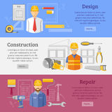 Construction works concept horizontal banners set Royalty Free Stock Images