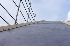construction works of construction and insulation of a roof Stock Images