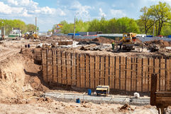 Construction works on the construction of new motorway in summer Royalty Free Stock Photos
