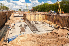 Construction works on the construction of new motorway in summer Royalty Free Stock Photography