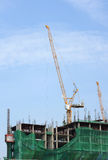 Construction works on  with cranes. Construction works on a high building with cranes over a blue sky Stock Photo