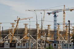 Construction works on erection of steel structures of the stadiu Stock Photo