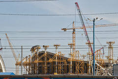 Construction works on erection of steel structures of the stadiu Royalty Free Stock Photos