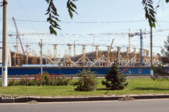 Construction works on erection of steel structures of the stadiu Stock Image