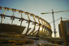 Construction works of Euro 2012 stadium in Kiev Stock Images