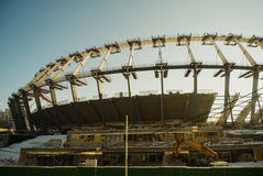 Construction works of Euro 2012 stadium in Kiev Royalty Free Stock Photography