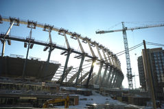 Construction works of Euro 2012 stadium in Kiev Stock Photography