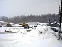 Construction Works Under Snowfall Stock Photography