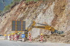 Construction works for expansion of the road Stock Images
