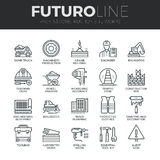 Construction Works Futuro Line Icons Set. Modern thin line icons set of construction works on site and building tools. Premium quality outline symbol collection vector illustration