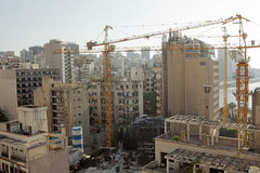 Construction works, Lebabon. Construction works in large cranes in action, Lebanon Stock Photos