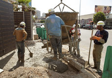Construction works, Lebabon. Construction workers wearing PPE in Lebanon Stock Photos
