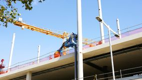 Construction works of the New Encantes or Fira de Bellcaire in Barcelona,. Catalunya, Spain stock images