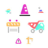 Construction works polygonal icons Royalty Free Stock Photos