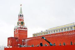Construction works on the Red Square. Royalty Free Stock Photography