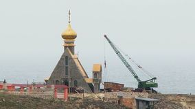 Construction Works on Rocks In Black Sea stock video