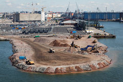 Construction works in sea port Royalty Free Stock Photo