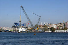 Construction works on the shore Royalty Free Stock Photography
