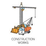 Construction works sign vector illustration. Doodle construction works sign vector color illustration Royalty Free Stock Photos