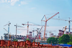 Construction works on a stadium Royalty Free Stock Image