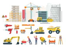 Construction works. Vector flat colorful illustration with colorful building tools. Building poster in modern style. royalty free stock images