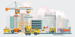 Construction works. Vector flat illustration with colorful building tools. Building poster in modern style. stock images