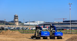 Construction works in the Zurich Airport Royalty Free Stock Photo