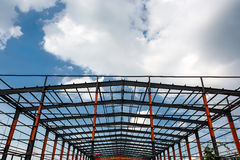 The construction of the workshop. Steel structure building is under construction Stock Photos
