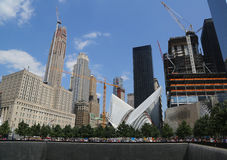 Construction of the World Trade Center Transportation Hub designed by Santiago Calatrava continues in Manhattan Stock Image