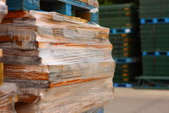 Construction yard material. Of wooden boards stock photos