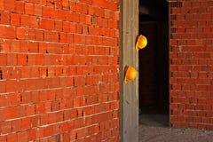 Construction yellow hard hats Stock Photography