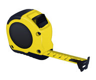 Construction  yellow measuring tape on white background Royalty Free Stock Images