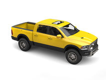 Construction yellow modern pick-up truck Stock Photos