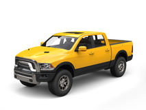 Construction yellow modern pick-up truck Royalty Free Stock Images