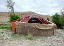 The construction of the yurt Stock Photo