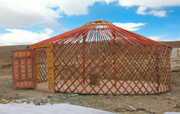 The construction of the yurt. In the steppes of Mongolia Stock Photo
