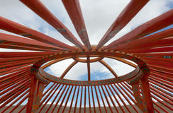 The construction of the yurt. In the steppes of Mongolia Stock Photos