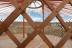 The construction of the yurt. In the steppes of Mongolia Royalty Free Stock Images