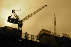 Construction zone. Backlit construction zone in sepia tones Stock Photo