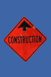 Construction zone ahead sign Royalty Free Stock Image