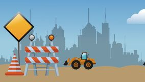 Animated construction zone in the city HD definition. Construction zone in the city High definition colorful scenes stock footage