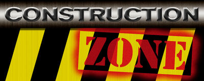 Construction Zone Illustration (photoshop). Rusty metal construction zone sign illustration Stock Photo