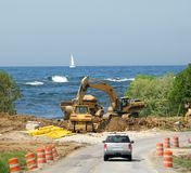 Construction Zone Lake Michigan Dunes Stock Photos