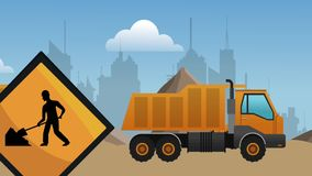 Construction zone with vehicles HD definition. Construction vehicles Passing by under construction zone High definition colorful scenes stock video