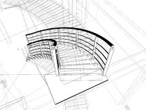Constructions abstraites d'escaliers spiralés de ligne Photos stock