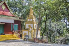 Constructions around the Buddhist temple Wat Leu. Constructions are seen around the Buddhist temple Wat Leu in the middle of the jungle Sihanoukville Cambodia Stock Image