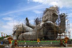 Constructions the biggest statue of Ganesha. In thailand. Ganesha is the Elephant headed god of luck and prosperity Royalty Free Stock Photo