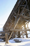 The constructions of the colliery in Pyramiden. Royalty Free Stock Photos